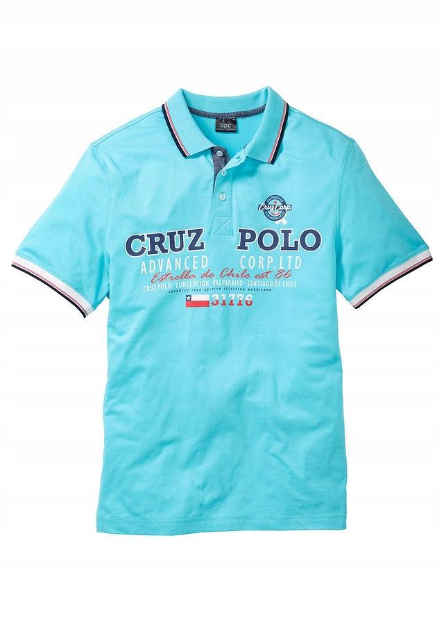 Shirt polo z nadrukiem niebieski 48/50 (M) 955685