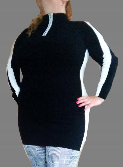 Wyszczuplający sweterek czarno biały suwak L/XL