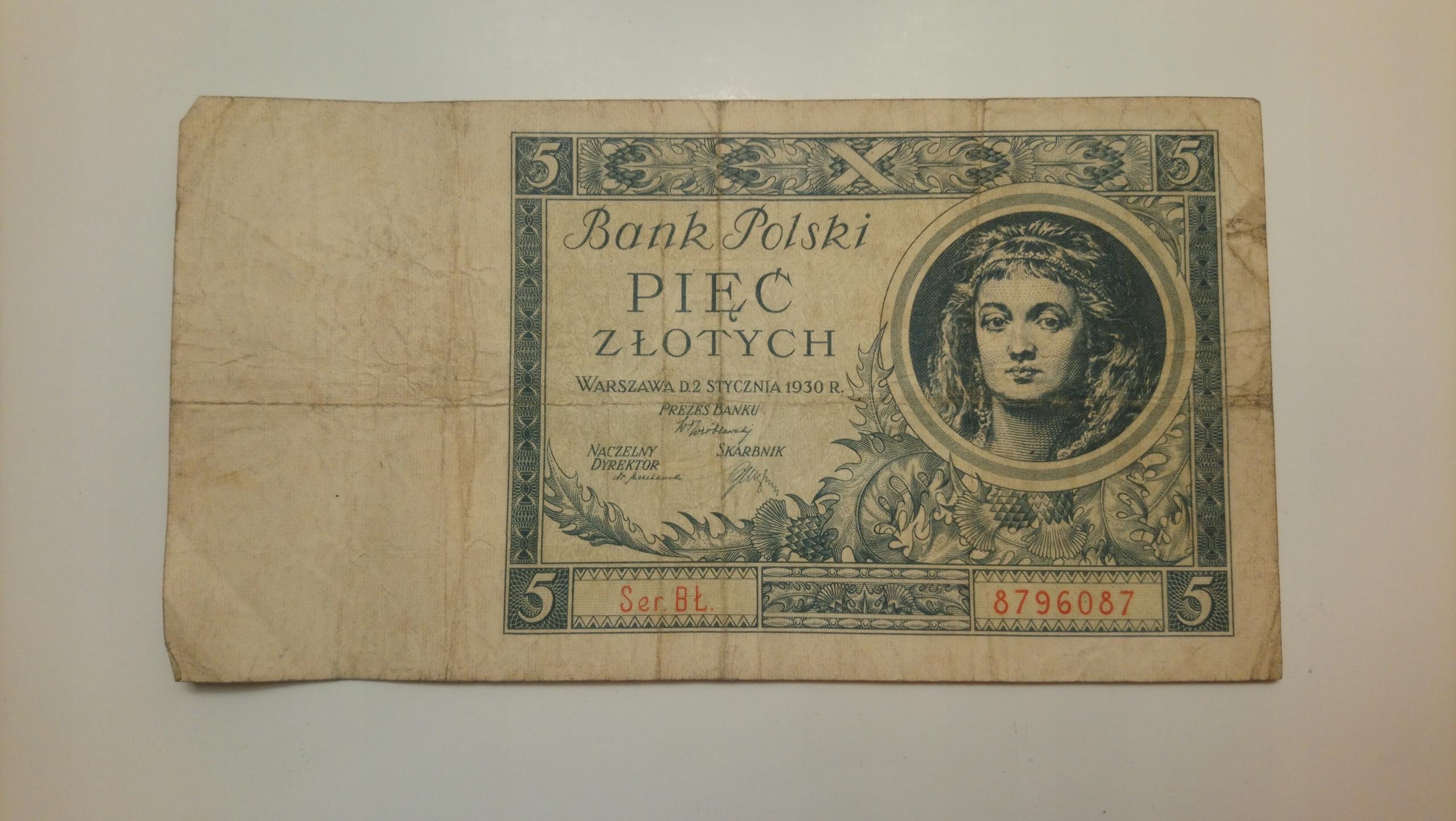 Banknot II RP 5 złotych 1930 rok SERIA: BŁ