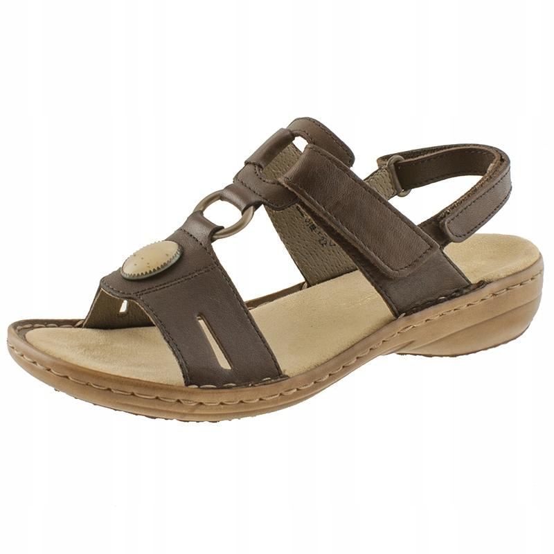 Sandały damskie skórzane na koturnie Rieker 40