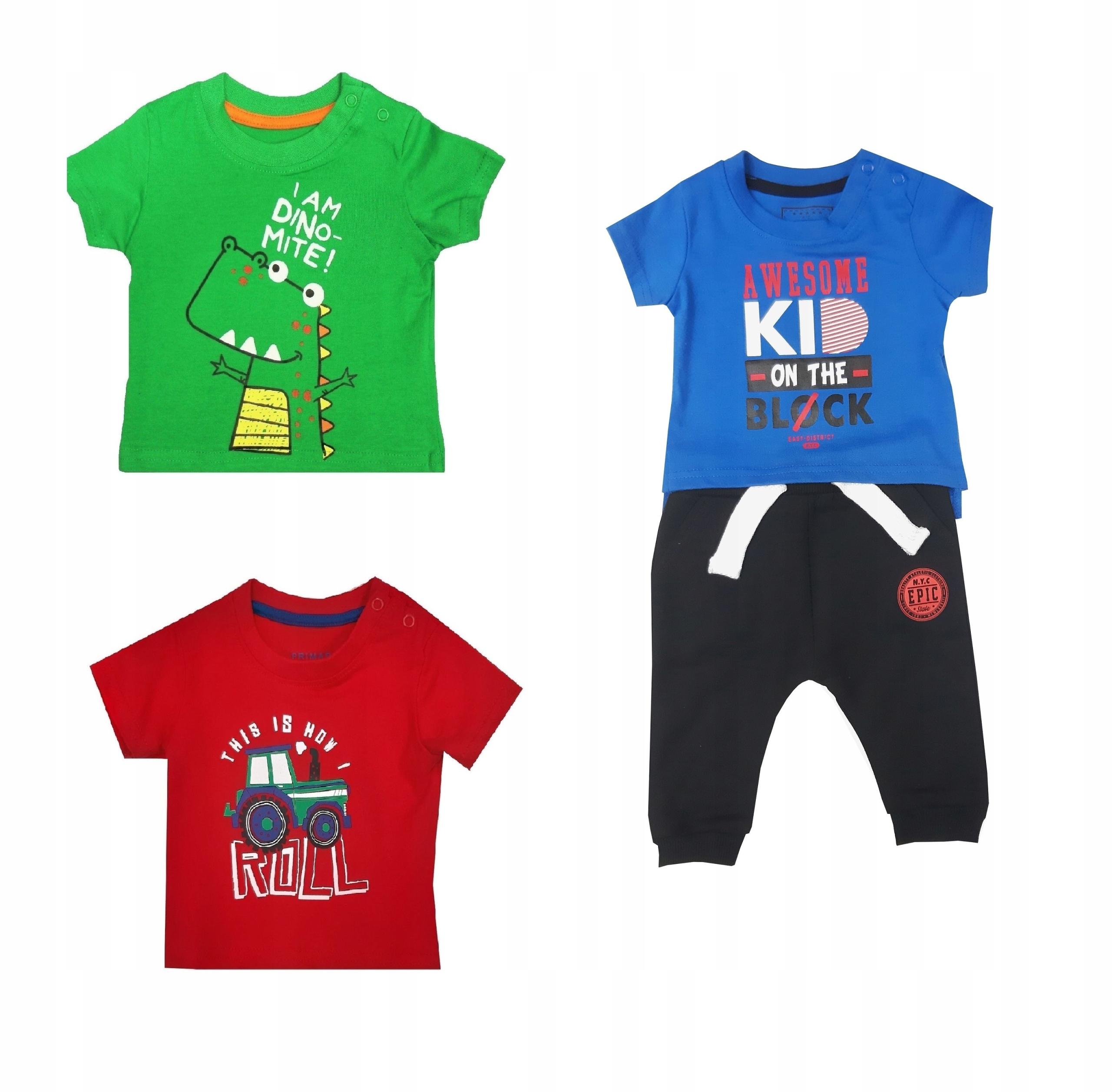 Primark spodnie dres + 3 szt bluzka 0 - 3 m 62 cm