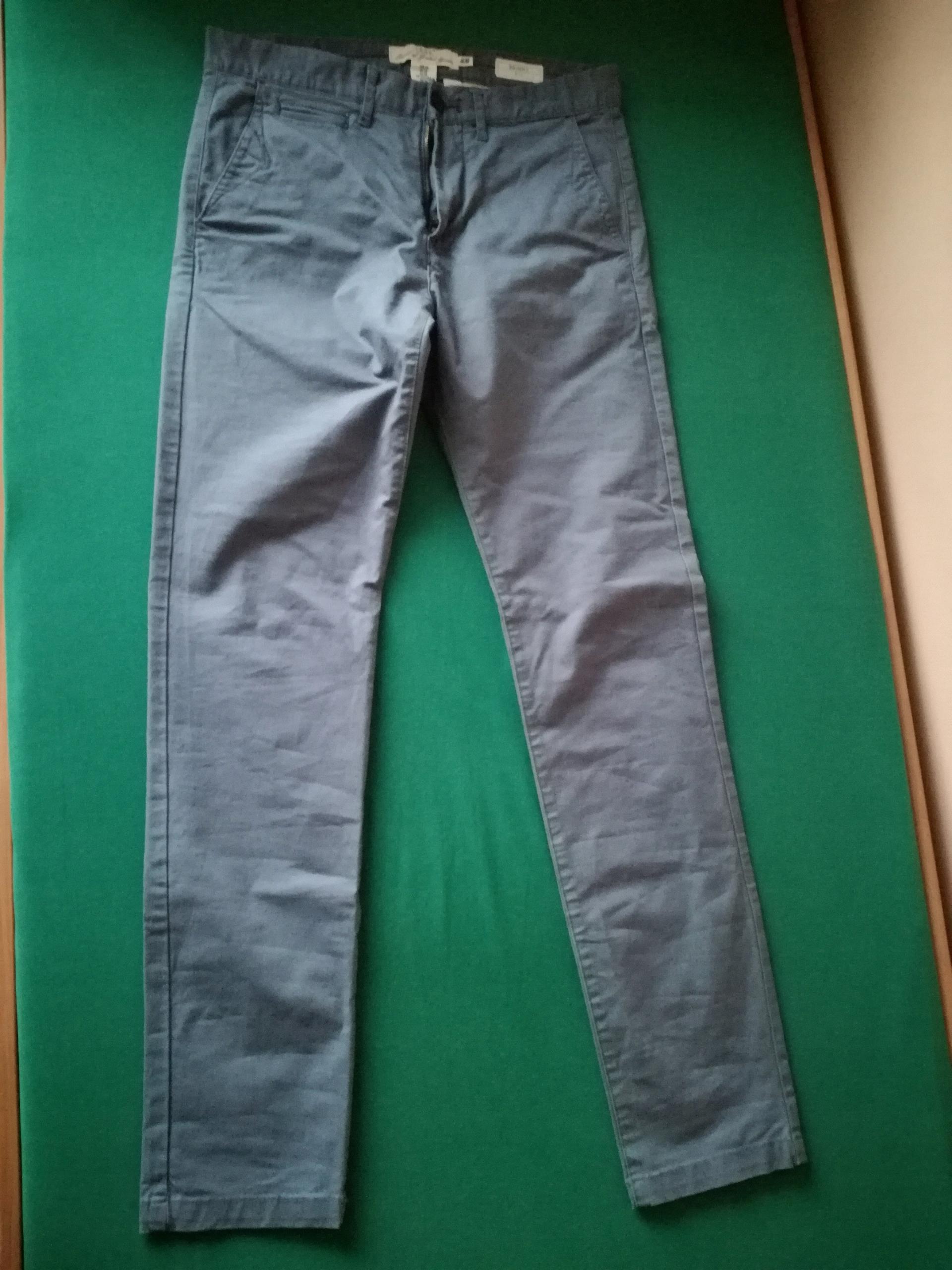 Spodnie H&M Chinos Skinny fit 30 niebieskie