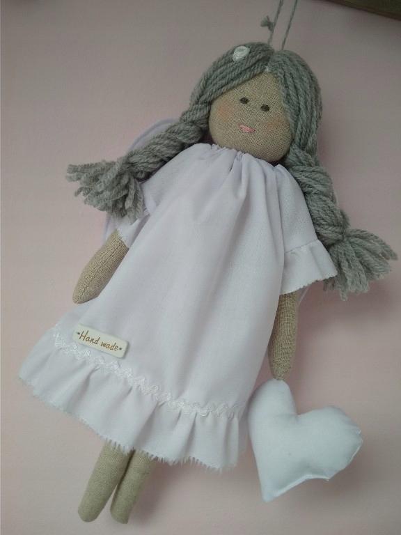 Aniołek Lalka Ręcznie Szyty Chrzest Tilda
