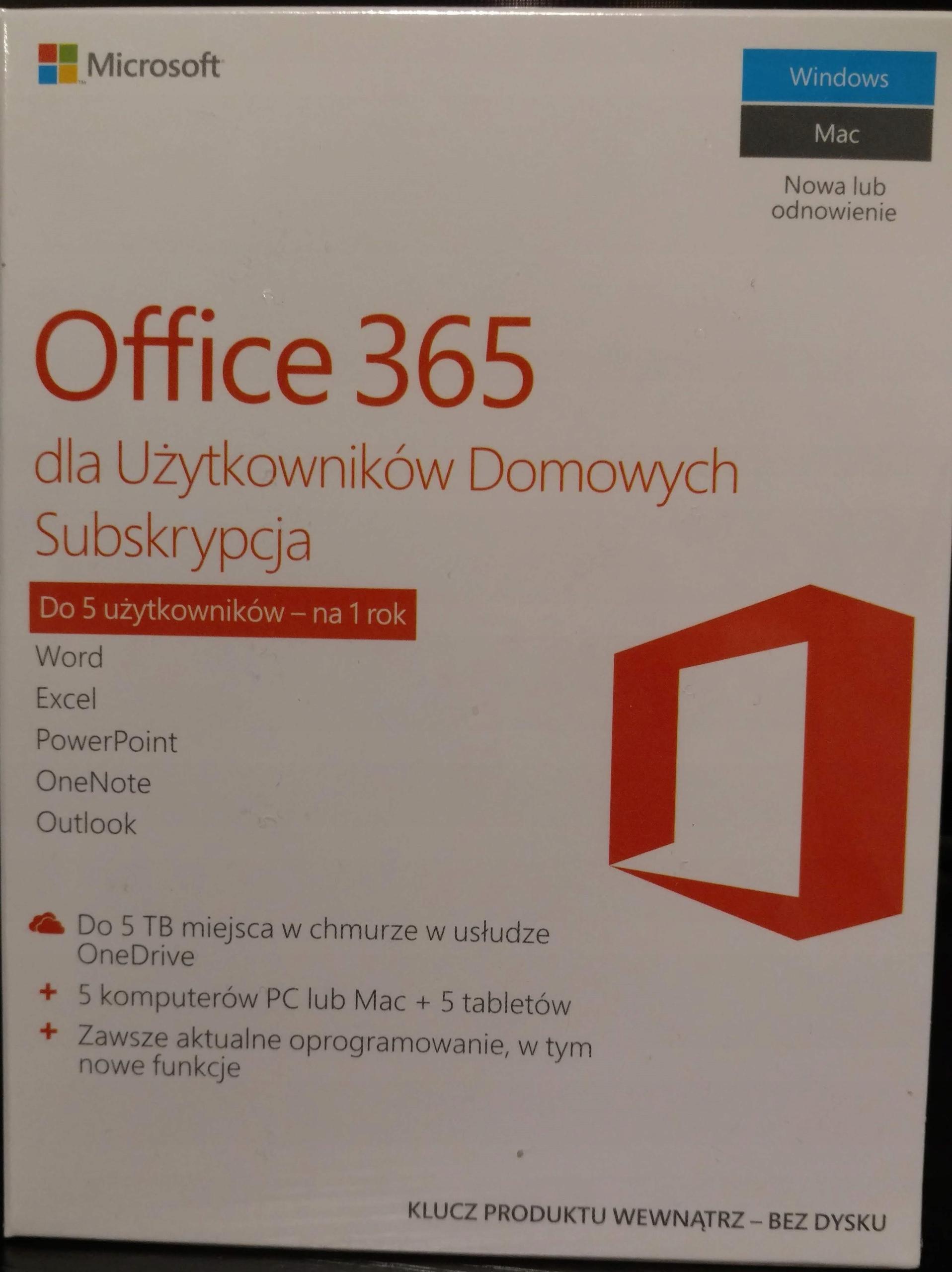 Microsoft Office 365 Home 5 użytkowników / 1 rok