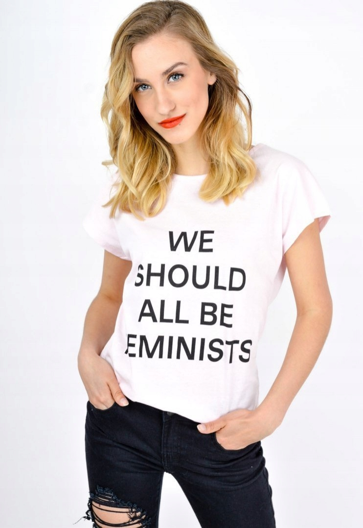 T-shirt napis we should all be feminists Różowy S