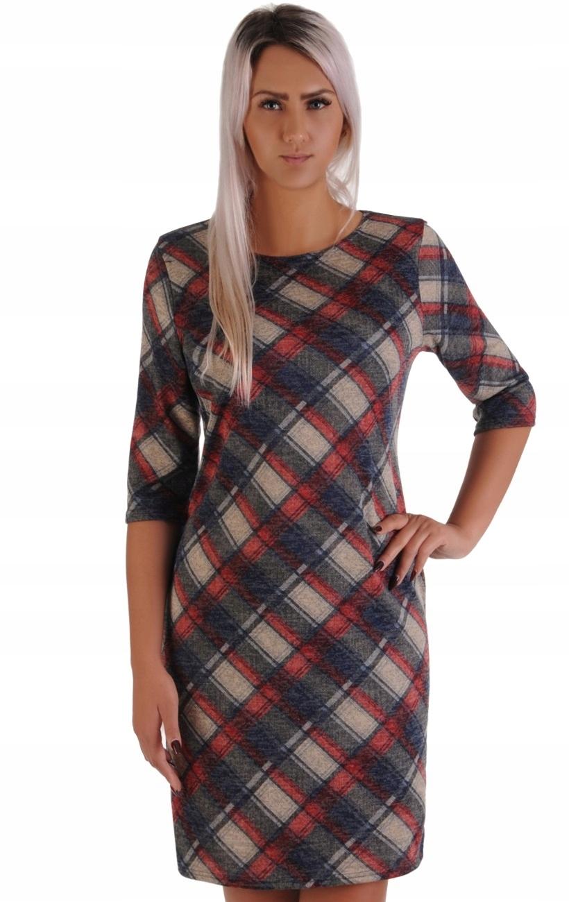 a1b3927ff12fc6 N39 Modna sukienka w czerwoną KRATKĘ (42-50) R48 - 7551401427 ...