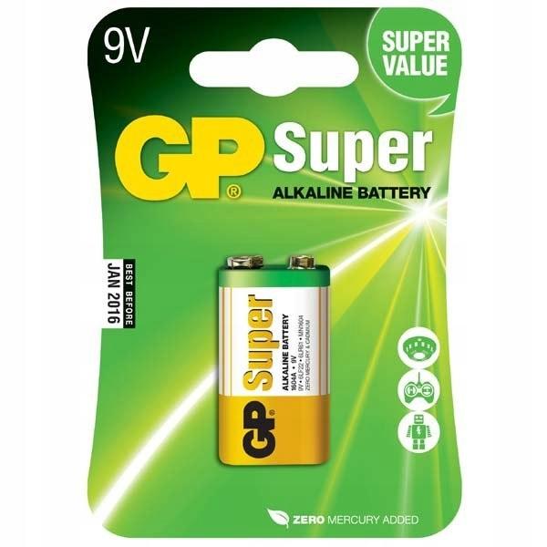 Bateria alkaliczna, R61, 9V, GP, blistr, 1-pack, S