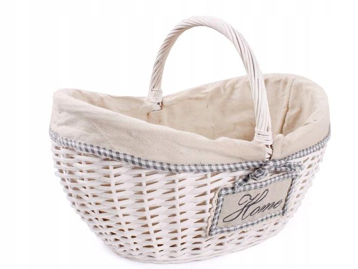Biały koszyk wiklinowy z materiałem 45x32x23/18/33