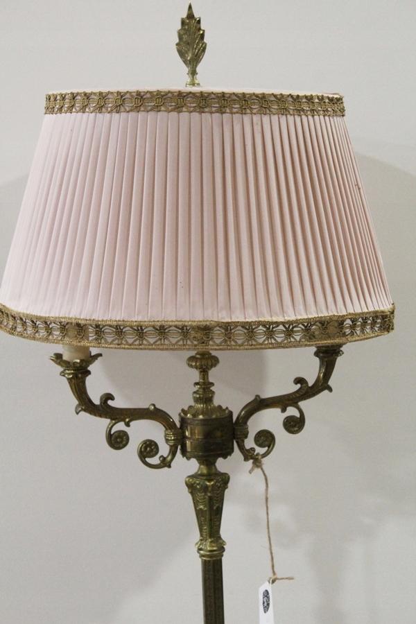 Lampa podłogowa mosiężna, lampka na 2 żarówki FiaF