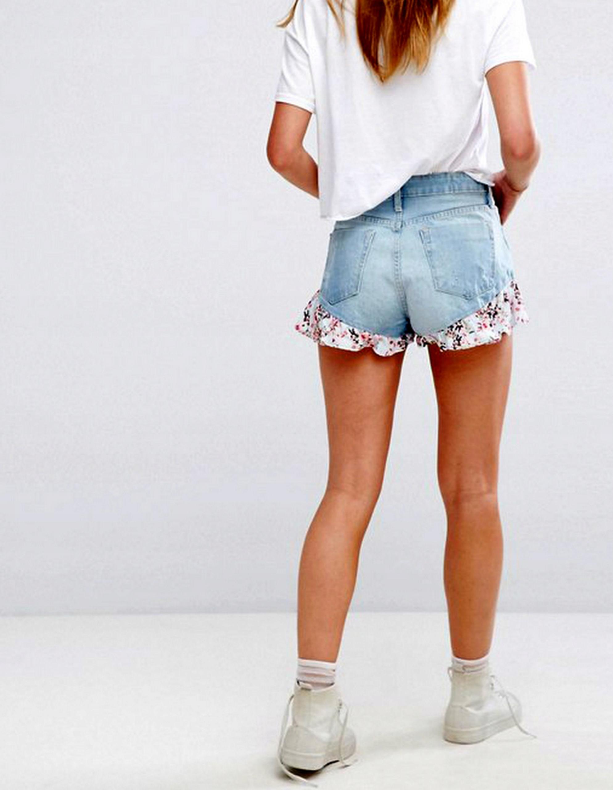 BERSHKA jeansowe spodenki szorty z falbanką XS/S