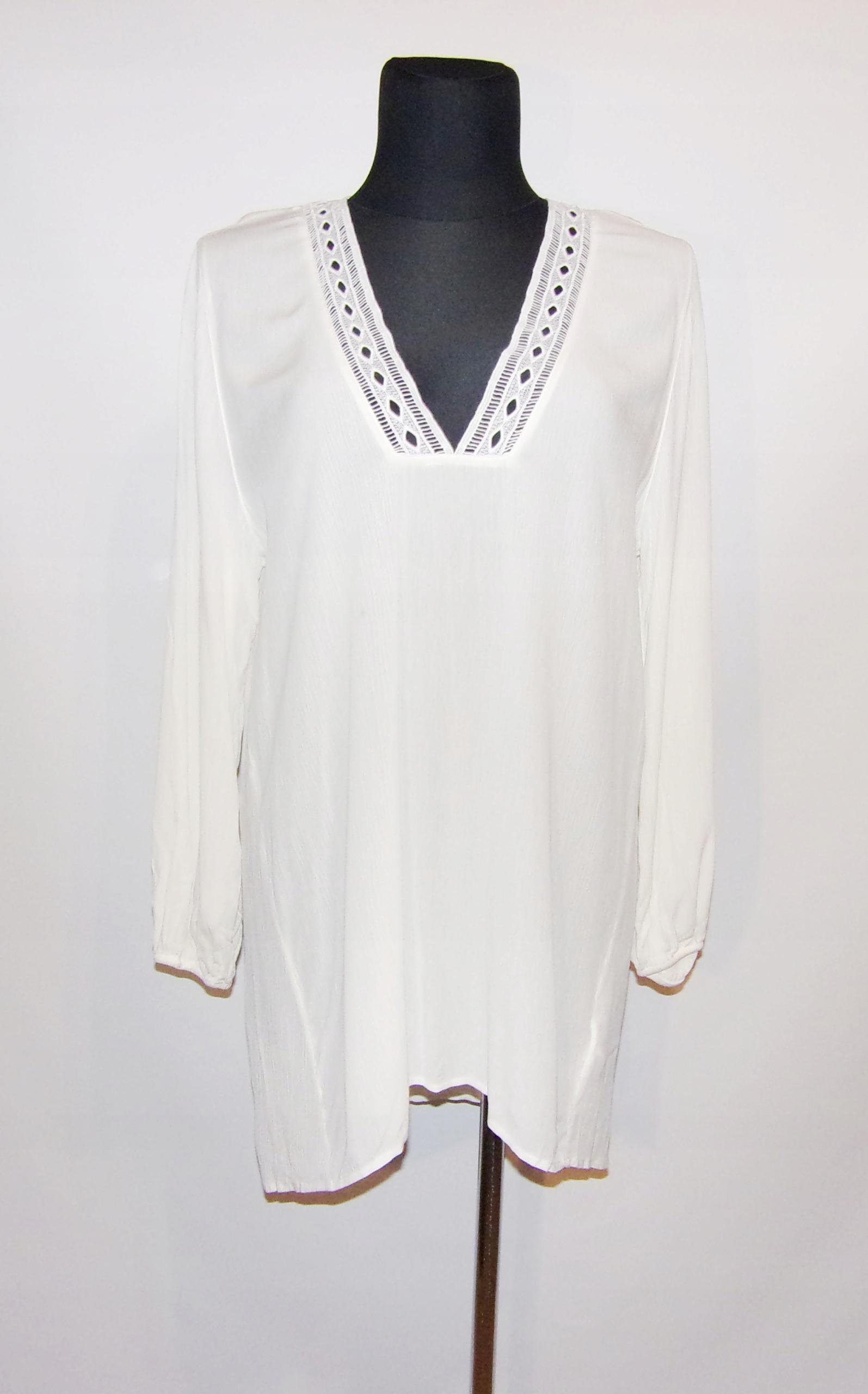 H&M biała długa tunika z koronka 44/46