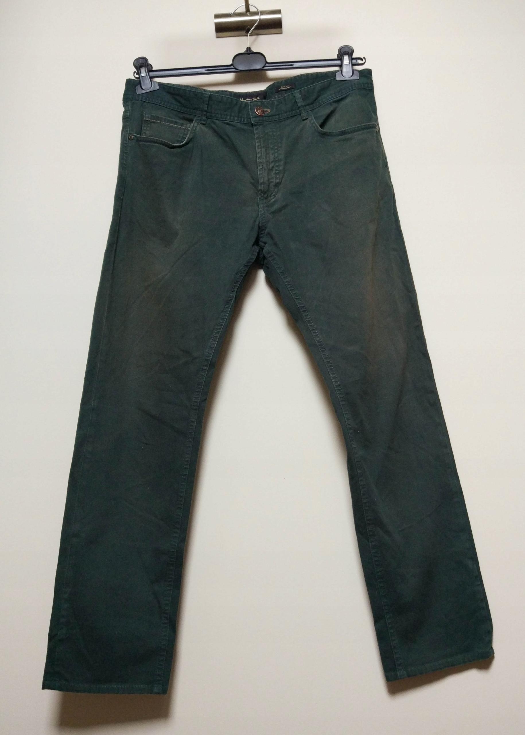 MASSIMO DUTTI zielone spodnie slim fit 42