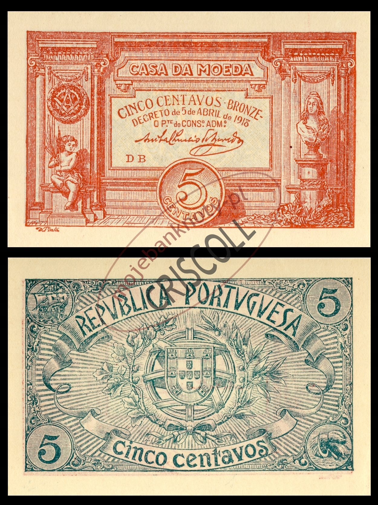 Portugalia 5 centavos 1918r. P-98 UNC -
