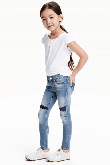 H&M spodnie CEKINY jeansy tregginsy rurki 104