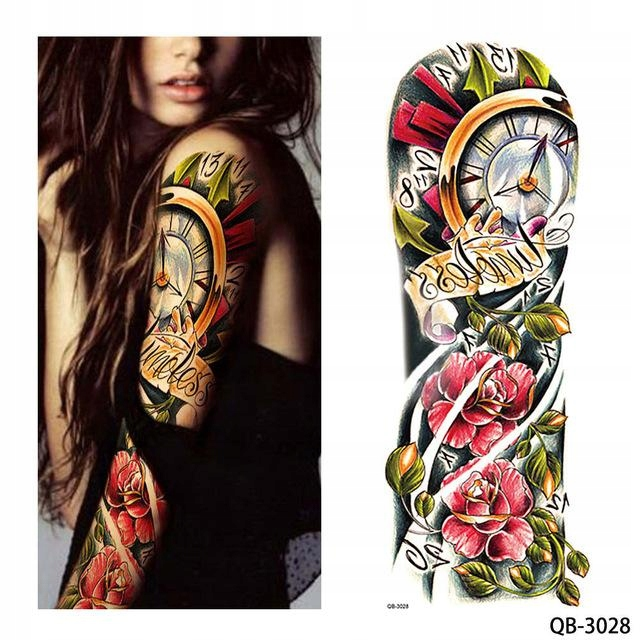 Tatuaż Zmywalny Rękaw Ręka Zegar Róża Kolor Czas