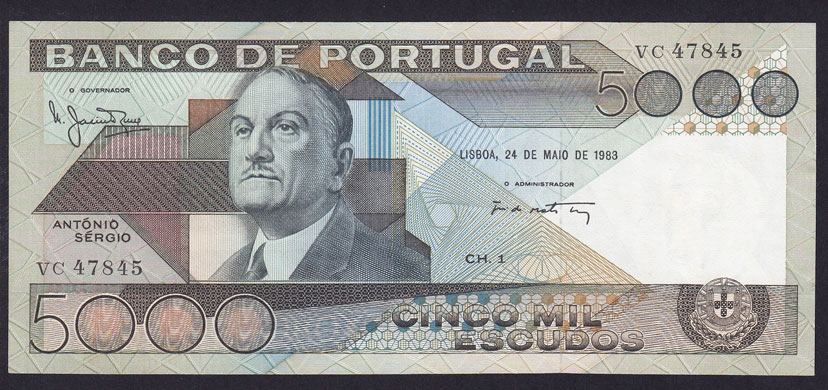 PORTUGAL 5000 ESCUDOS 1983 P-182c UNC