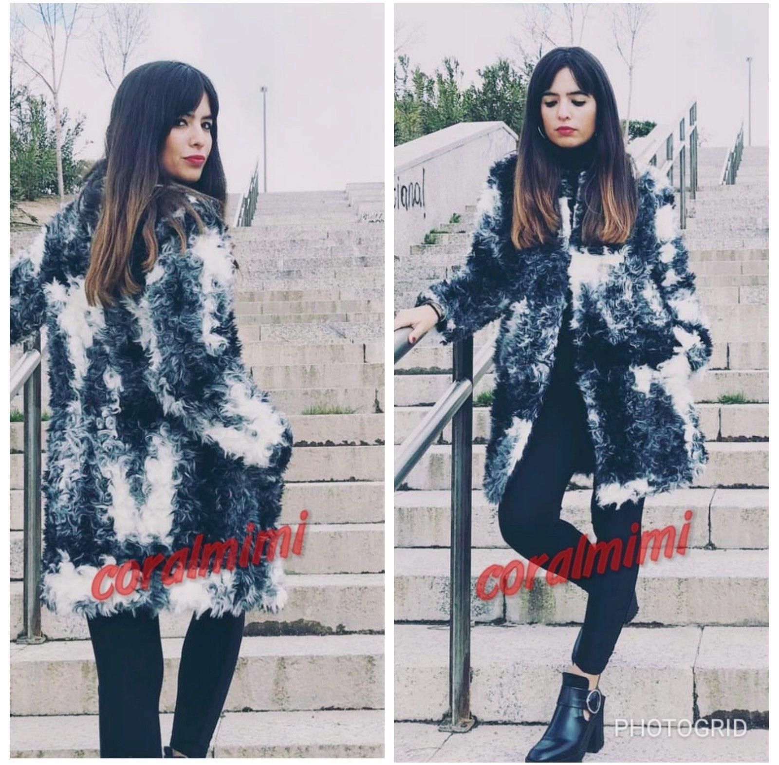 ZARA - czarno białe futerko kurtka - L