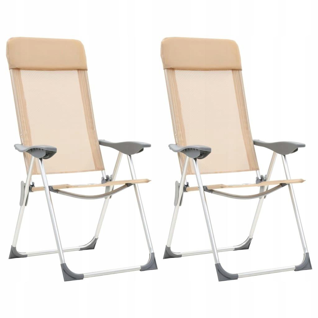 Składane krzesła turystyczne, 2 szt., kremowe, alu
