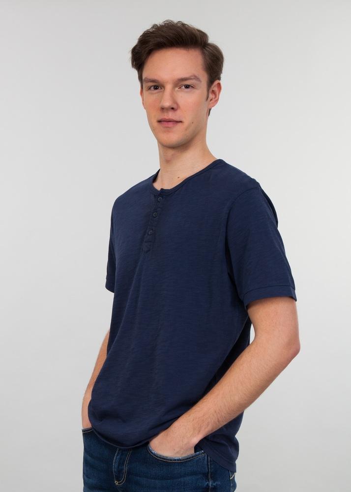 Lee Cooper T-shirt HENLEY 3000 NIGHT BLUE XXXL