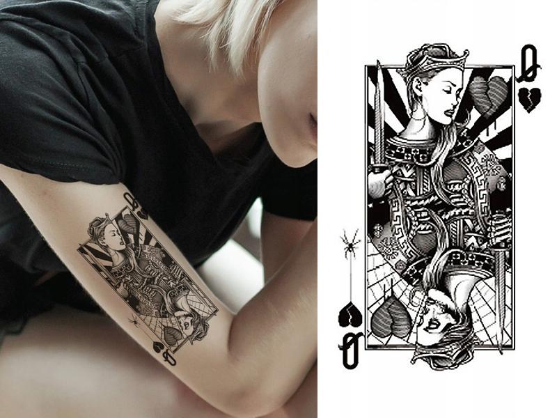 Tatuaż Damski Zmywalny Henna Tymczasowy Dama Pik