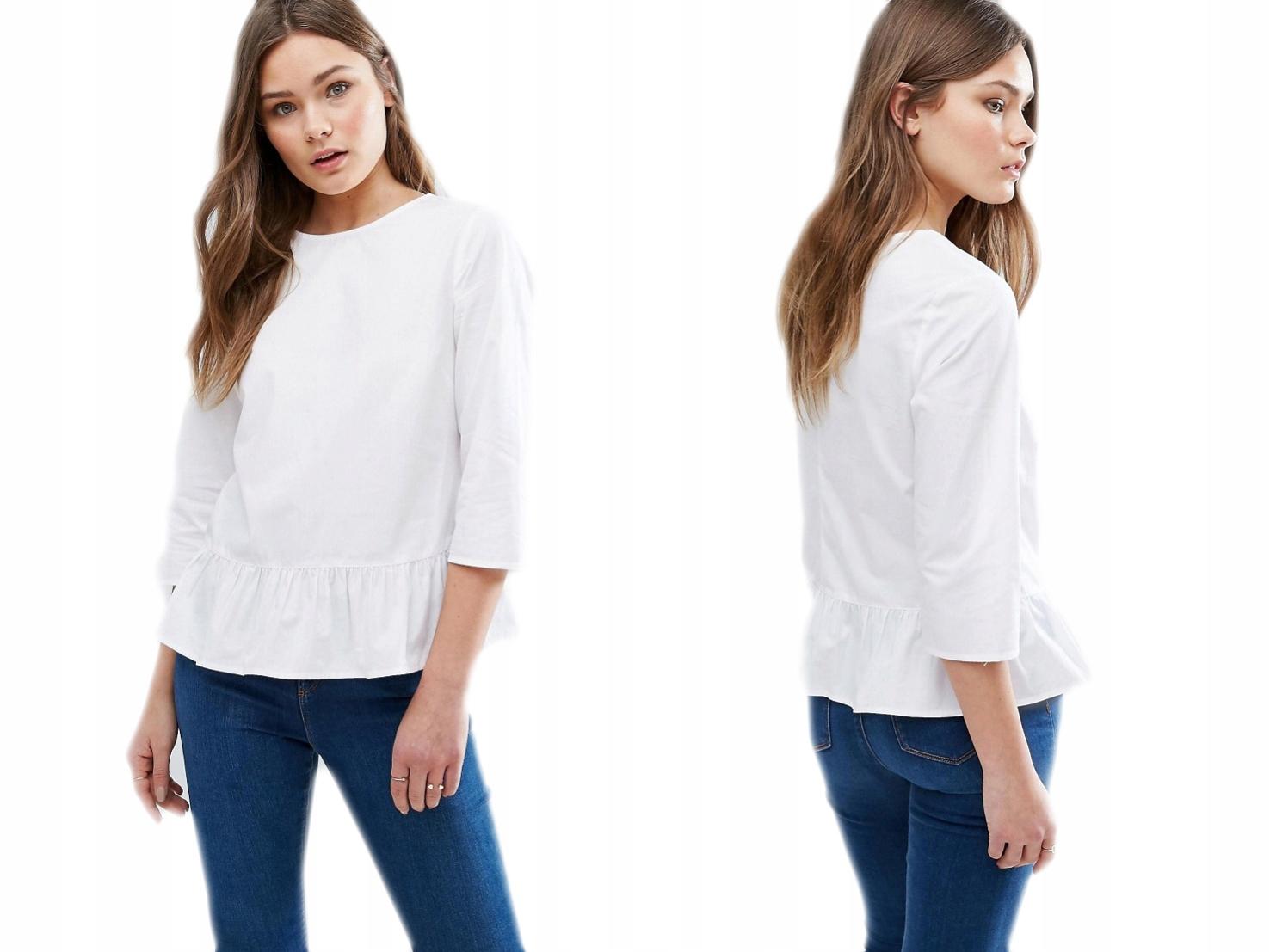 New Look biała bawełniana bluzka z falbanką 36/S