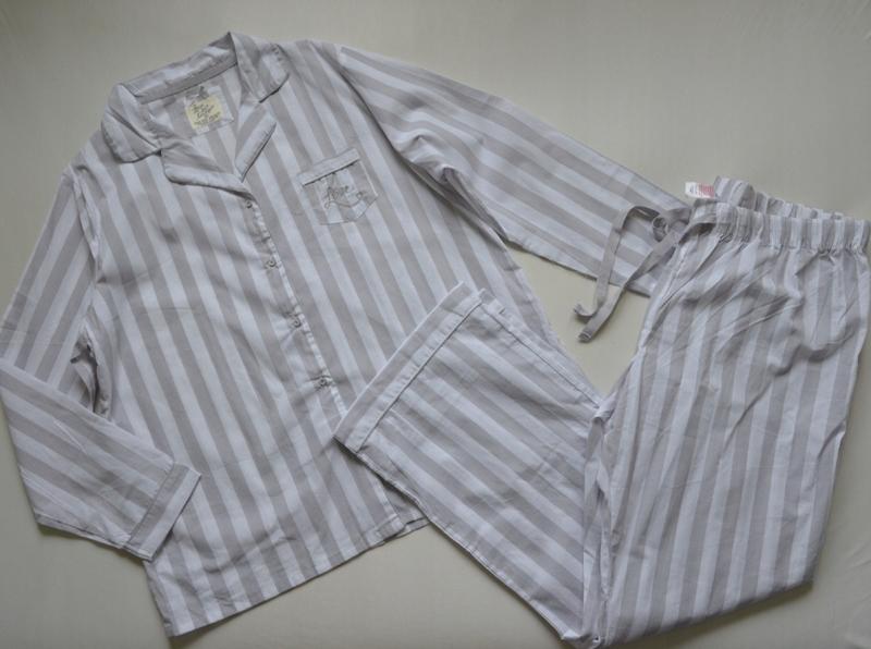 Piżama w paski szara biała bawełna primark 46/48