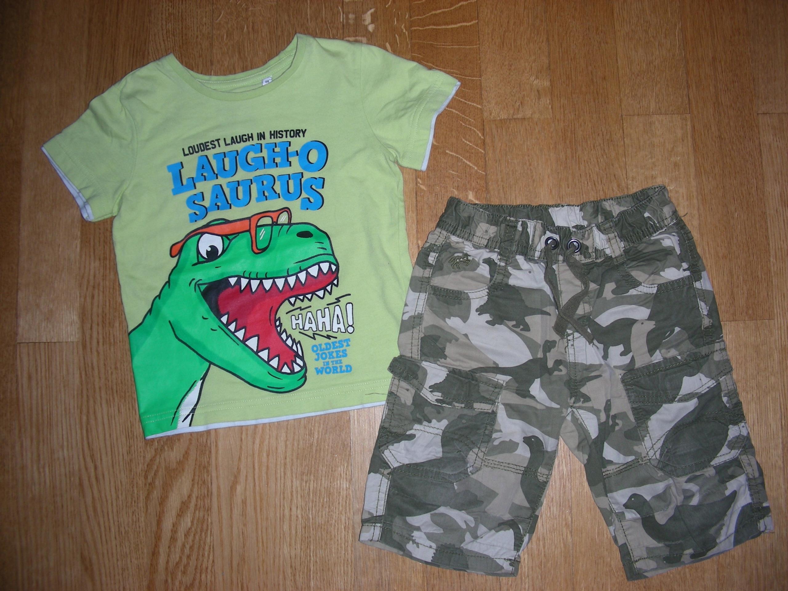 Zestaw Spodenki +T-shirt dinozaur rozm 92 / 98 2/3