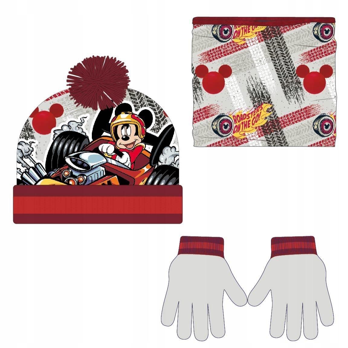 Komplet: czapka, komin i rękawiczki Myszka Mickey