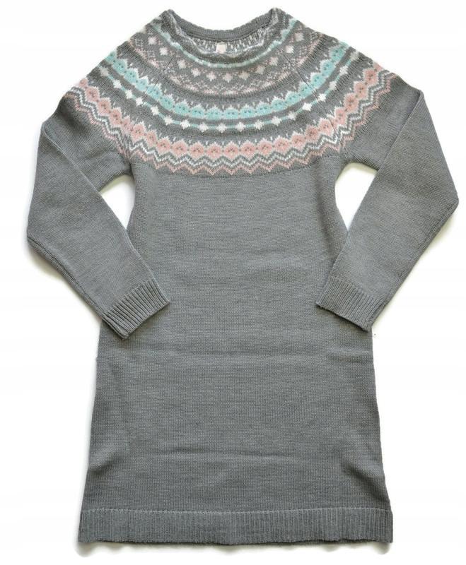 szara sweterkowa sukienka * 11-12 L / 152