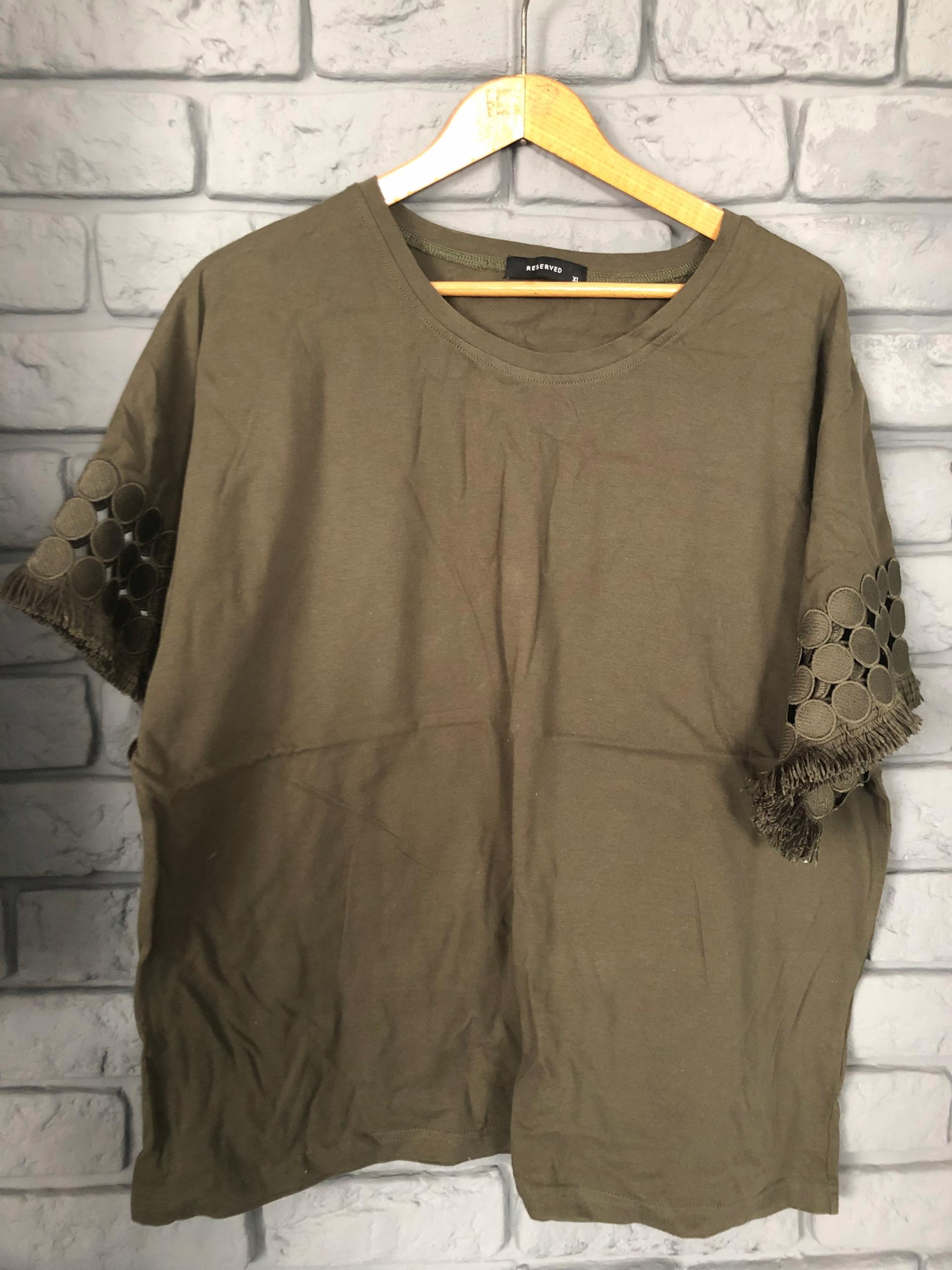 Reserved t-shirt khaki boho hippie wiosna XL
