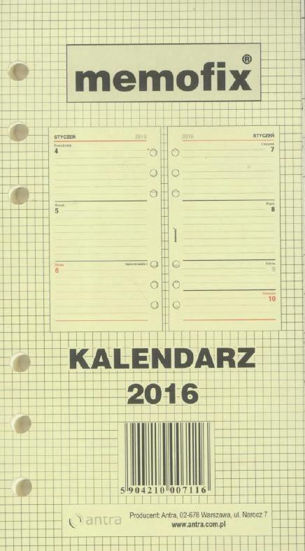 Wkład kalendarzowy Memofix standard TDW ANTRA