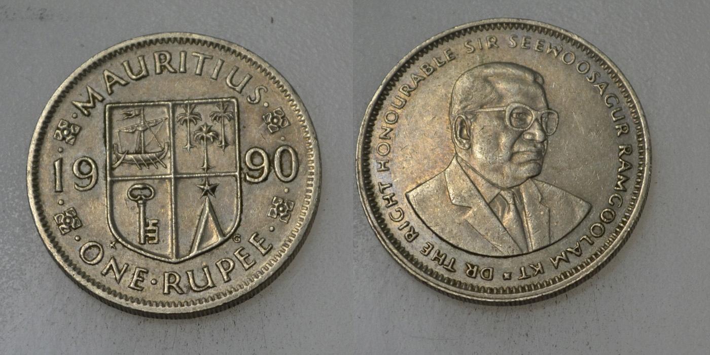 Mauritius 1 Rupia 1990 rok BCM