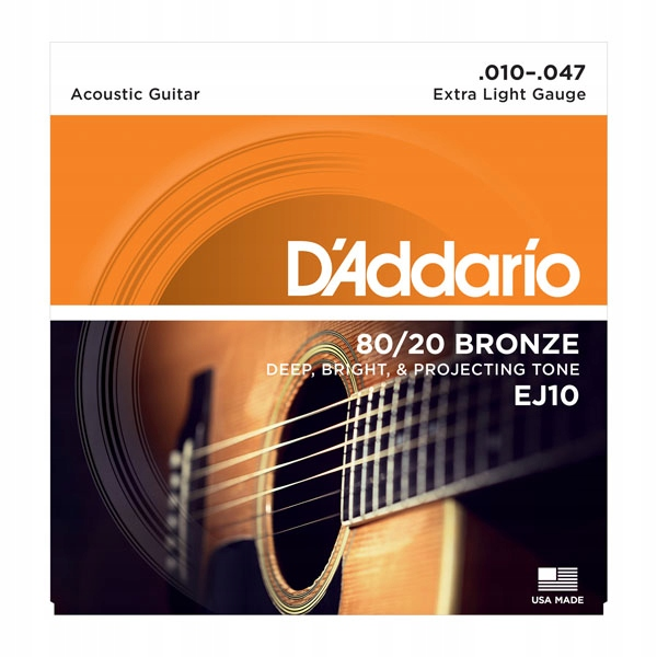 D'Addario EJ10 struny do gitary akustyczne 10-47