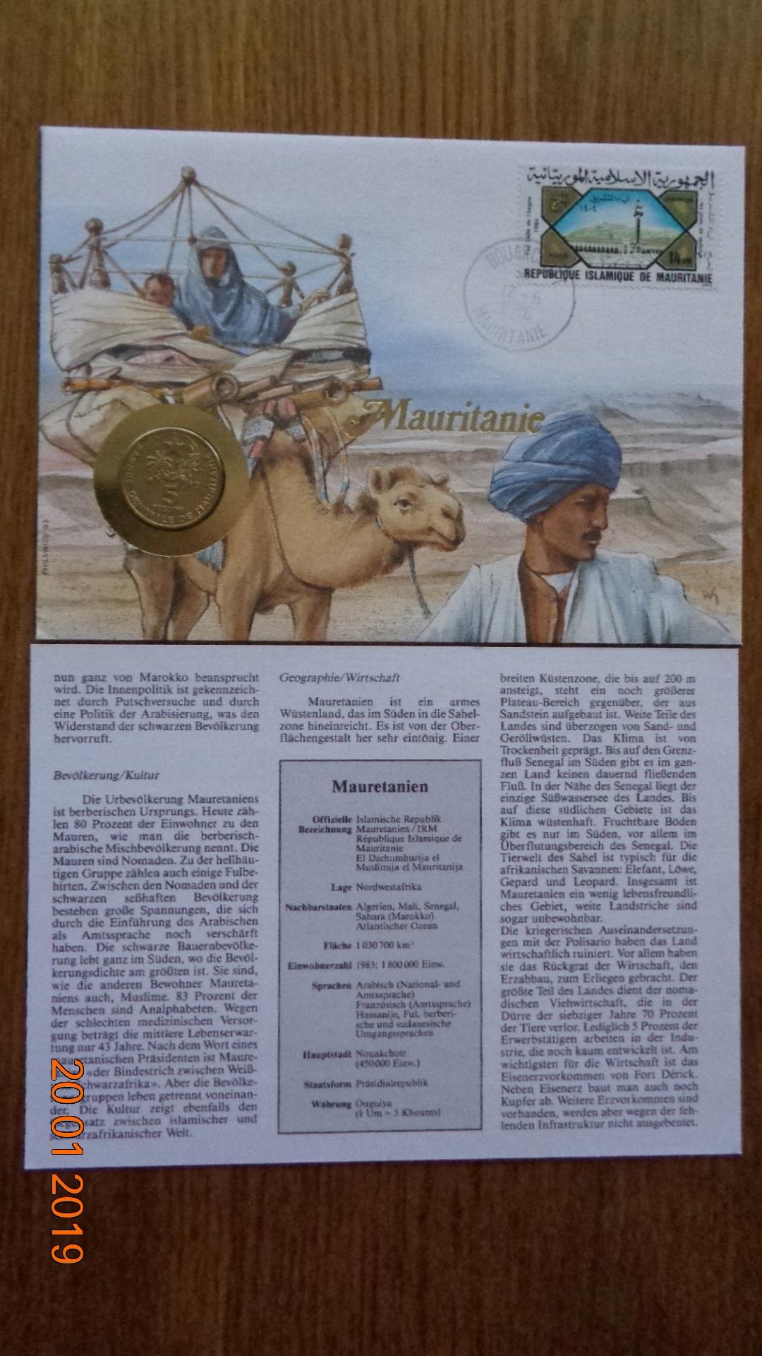 Mauretania moneta + znaczek