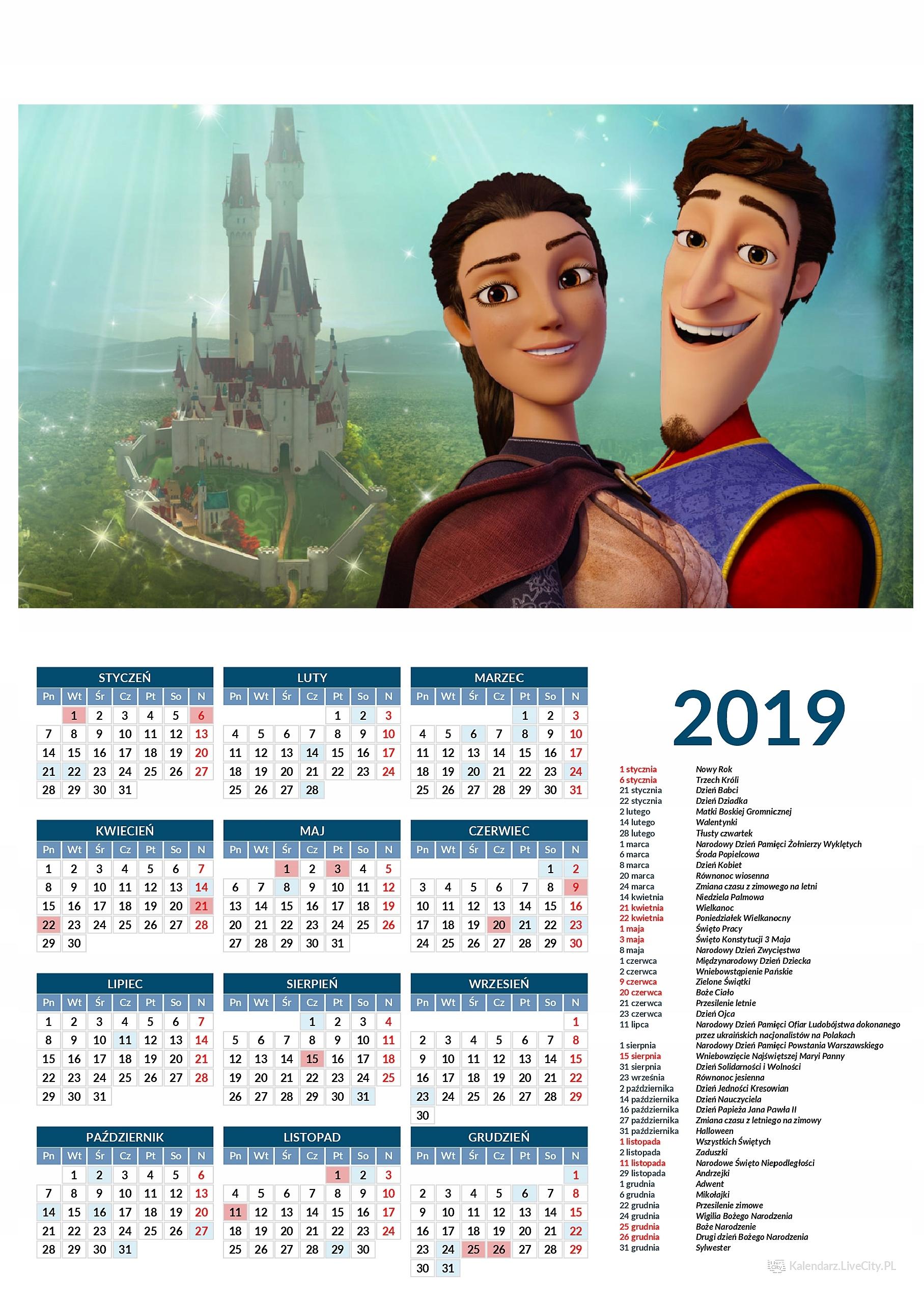 Kalendarz 2019 film Książę Czaruś