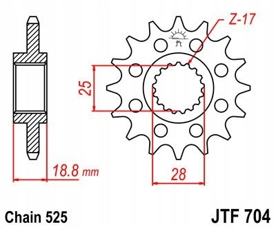 JT ZĘBATKA PRZEDNIA 2078 17 BMW F 650 700 800 GS J