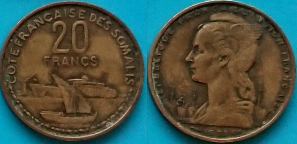 Somalia Francuska 20 franków 1952r. KM 7