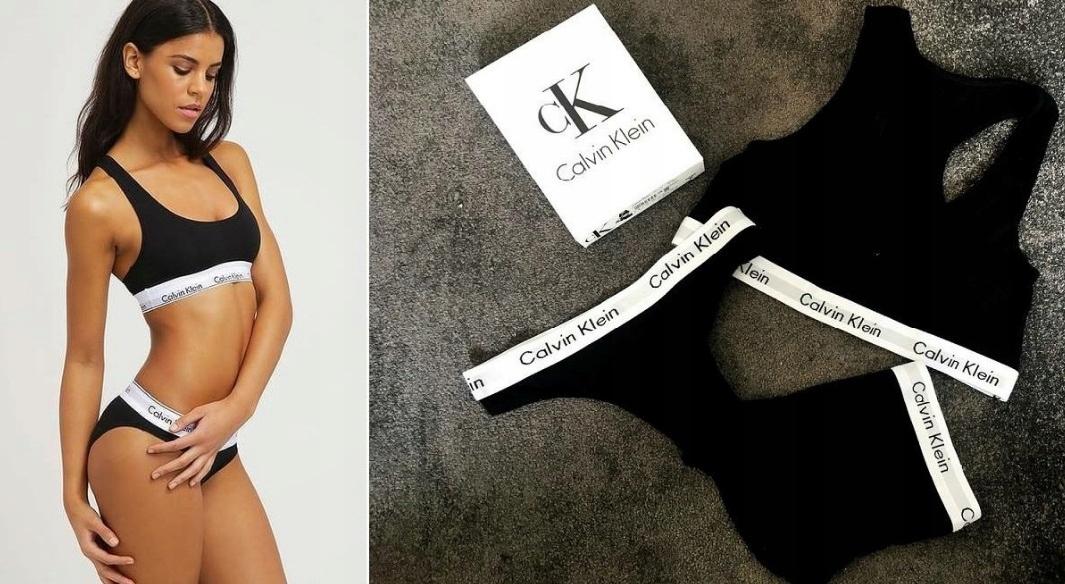 3-Pack Calvin Klein TOP,SZORTY,STRINGI CZARNY R xL