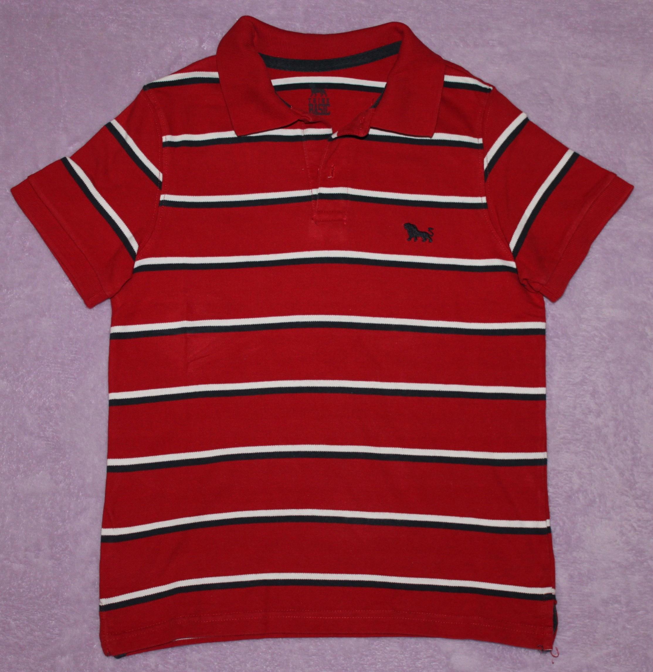 Koszulka polo czerwona w paski, Tchibo, r. 140