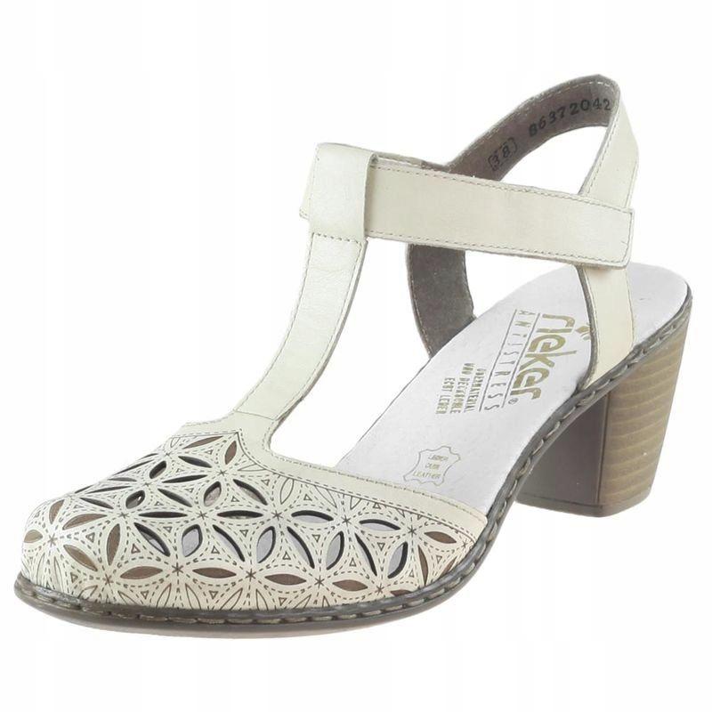 Białe Kremowe Sandały Rzep Rieker 40995 R.41