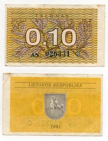 LITWA 1991 0,10 TALONAS