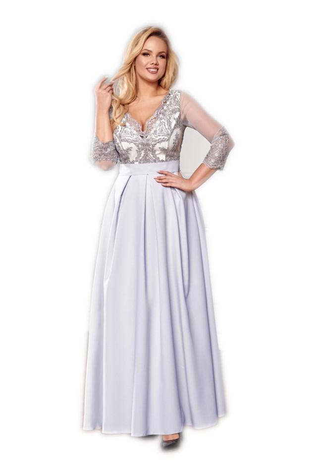 Szara sukienka maxi wesele z koronką Bicotone
