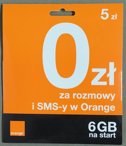 Starter Orange Karta SIM Card FREE 5 PLN 6GB