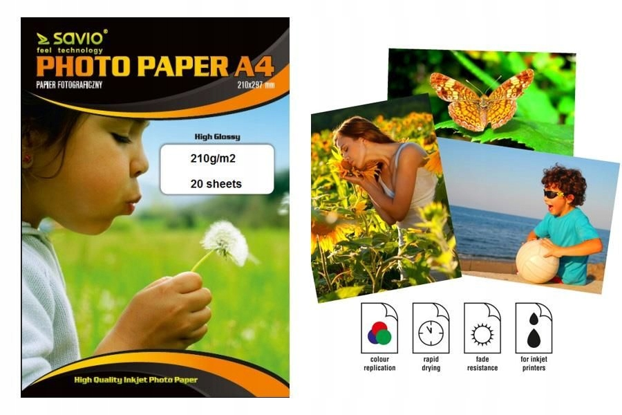 Papier fotograficzny SAVIO PA-08 A4 210g/m2 20 szt