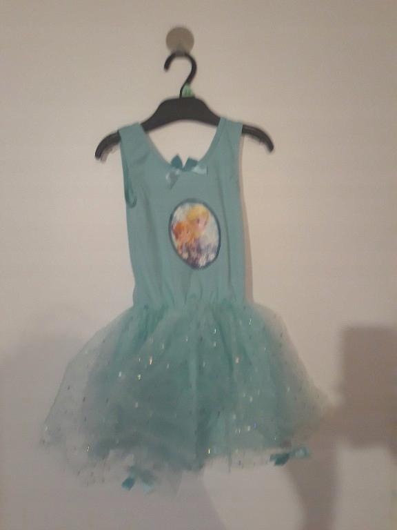 frozen turkusowa tiulowa sukienka disney 3/4 tutu