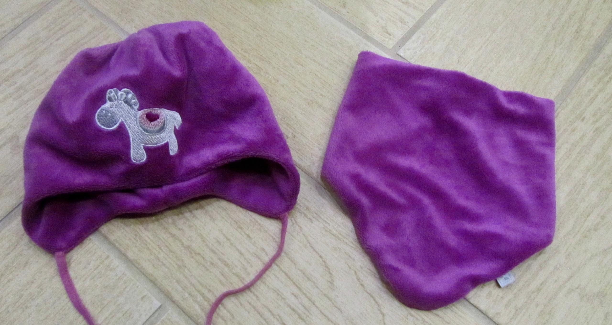 Fioletowy kpl czapka chusta Coccodrillo 50