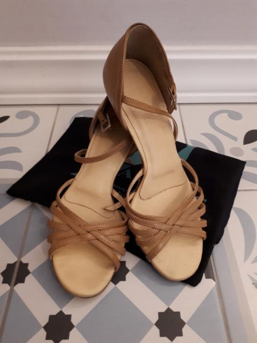 AKCES buty do łaciny / nude skóra naturalna / 23cm