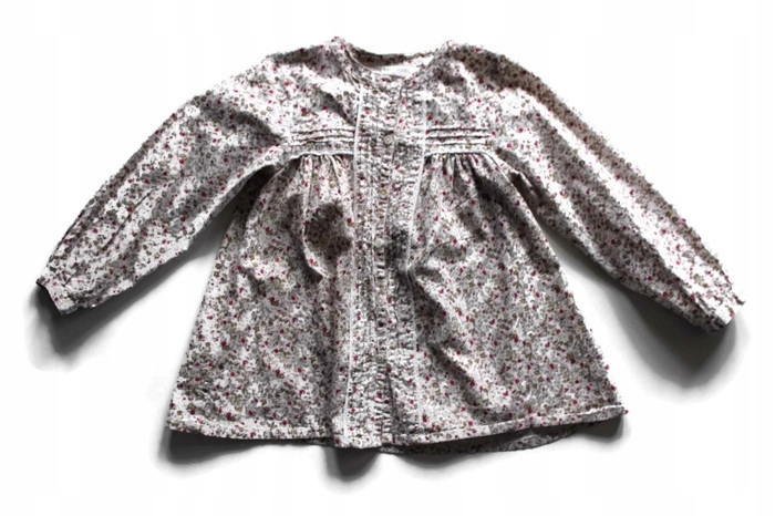 W907 Ecru koszula wzorzysta bawełna 116