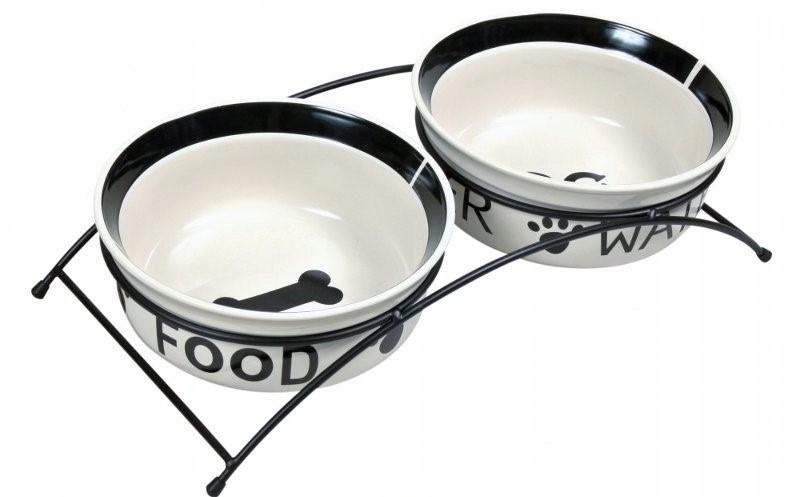 Miski ceramiczne na stojaku eat&water 2x0,25l