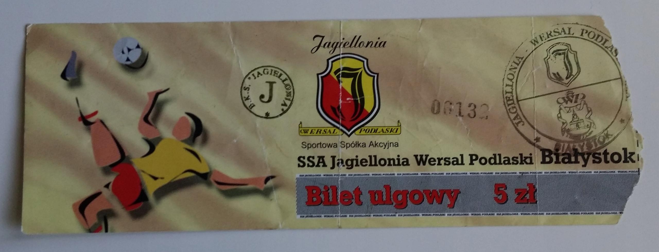Bilet Jagiellonia Wersal Podlaski Białystok